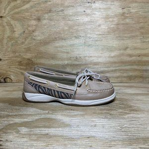 Sperry 2-Eye Leather Boat Shoes Womens Size 7.5 M Tan Brown 9772781 Flats